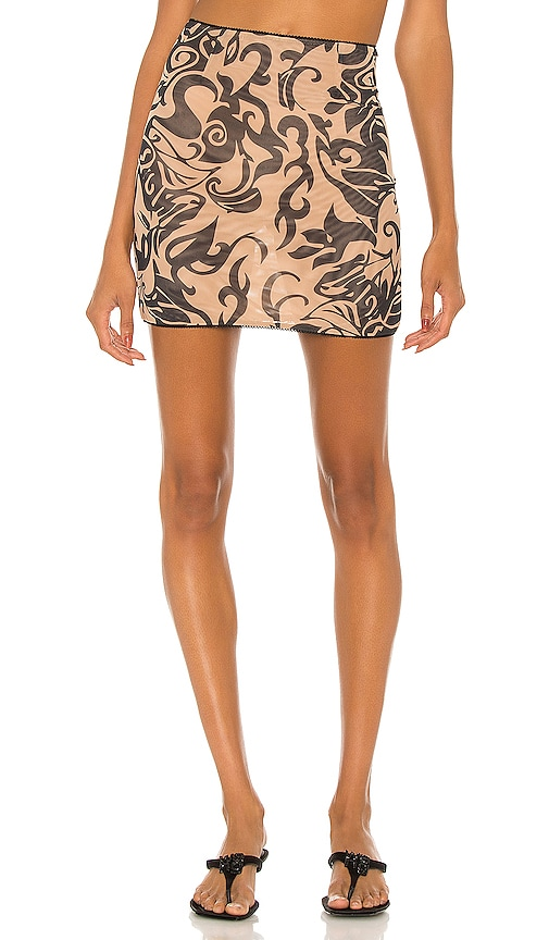 Miaou Moni Mini Skirt in Hawaiian Black & Nude | REVOLVE