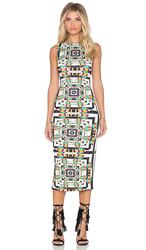 Mara Hoffman Fitted Midi Dress in Tesselate Cream