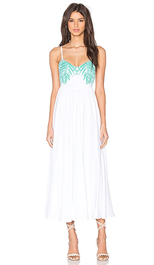 Leaf Embroidered Tie Back Dress