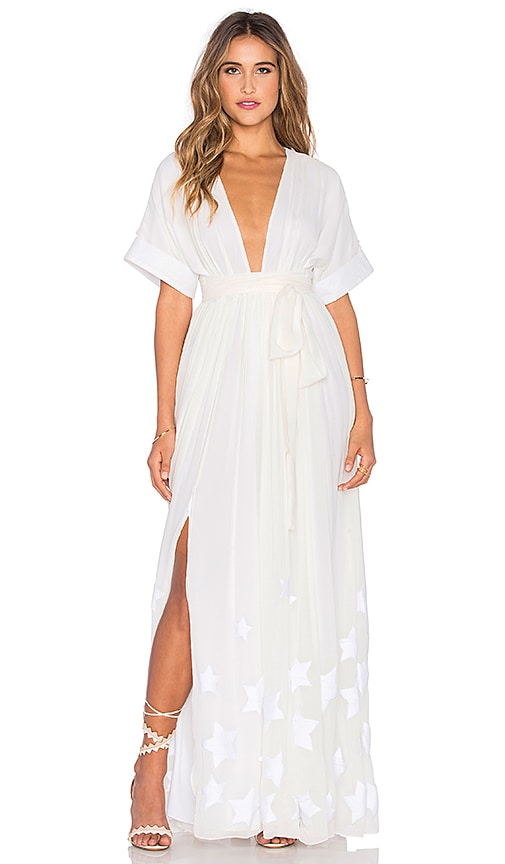 Mara Hoffman Embroidered Slit Maxi Dress in White