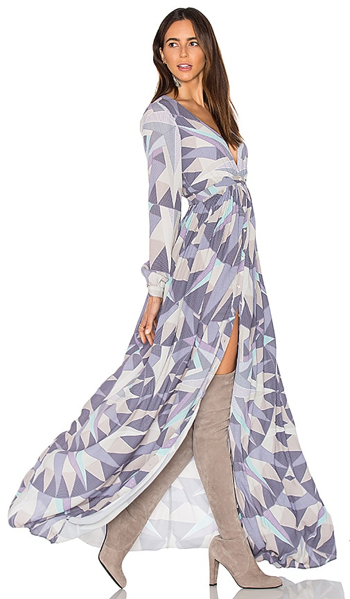 Mara Hoffman Compass Long Sleeve Maxi Dress in Lavender