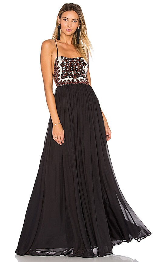 Mara Hoffman Embellished Silk Maxi Dress in Black