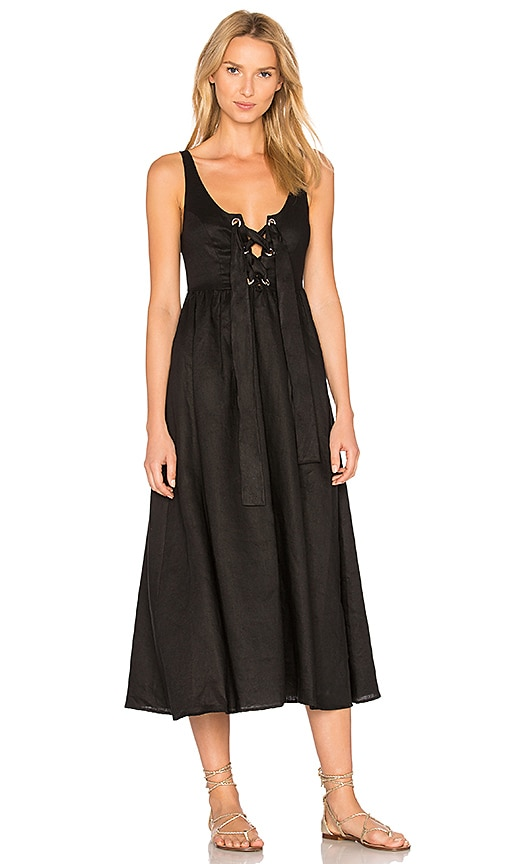Mara Hoffman Lace Up Midi Dress in Black