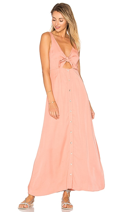 Mara Hoffman Tie Front Midi Dress in Peach