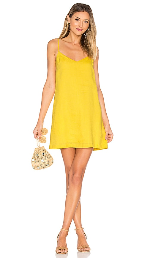 Mara Hoffman Spaghetti Mini Dress in Yellow