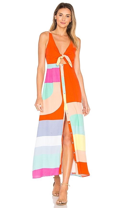 Mara Hoffman Tie Front Midi Dress in Orange
