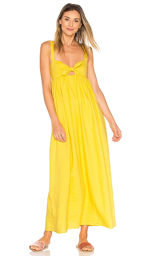 Mara Hoffman Tie Front Maxi Dress in Yellow