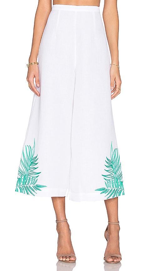 Mara Hoffman Leaf Embroidered Culotte in White