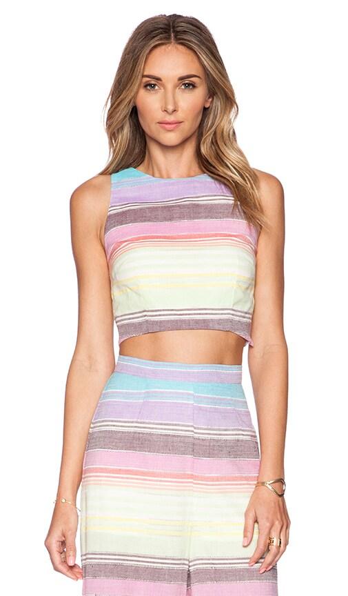 Mara Hoffman Striped Crop Top in Rainbow Stripe