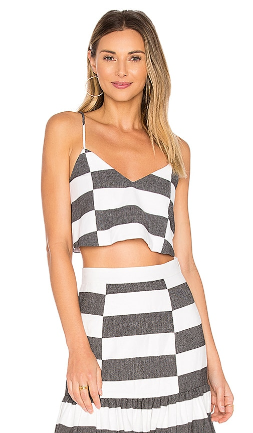 Mara Hoffman Crop Cami in Black & White