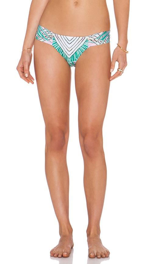 Mara Hoffman Side Ruched Bikini Bottom in Rising Palm Pink