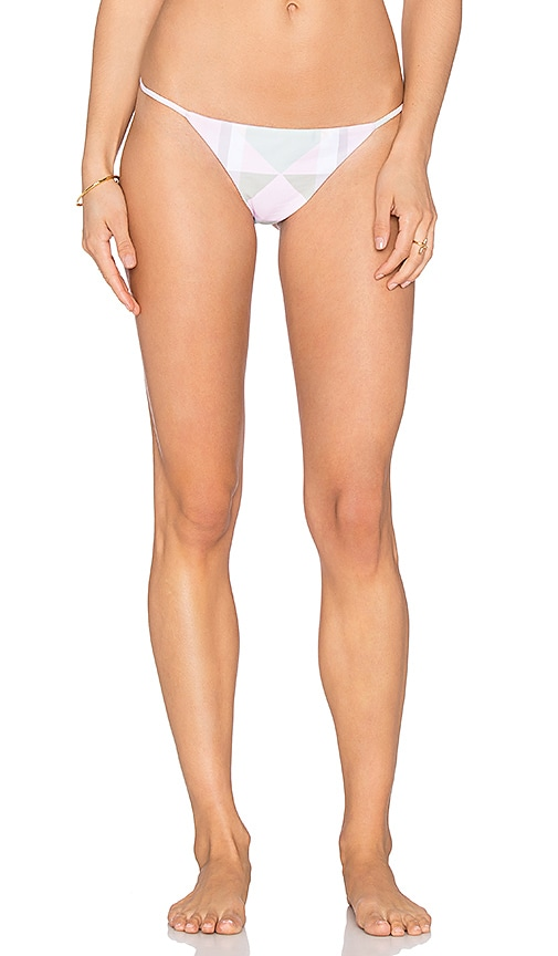 Mara Hoffman Spaghetti Side Bikini Bottom in Diamond Pastel Pink