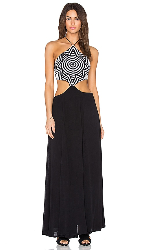 Mara Hoffman Crochet Cut Out Side Dress in Black & White