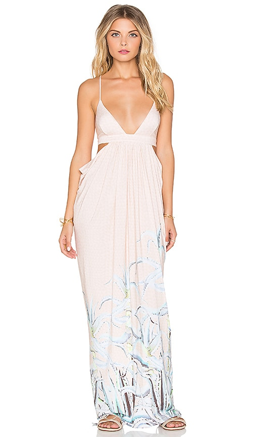 Mara Hoffman Cut Out Side Draped Maxi Dress in Aloe Pastel Pink