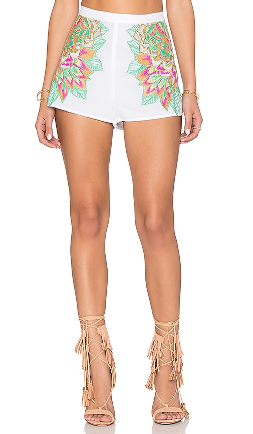 Mara Hoffman Floral Embroidered Short in White