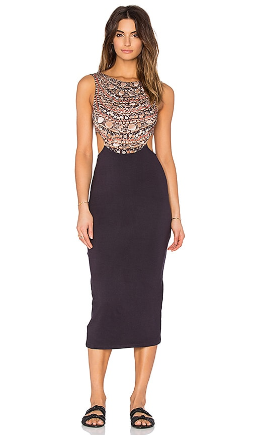 Mara Hoffman Scoop Back Midi Dress in Black