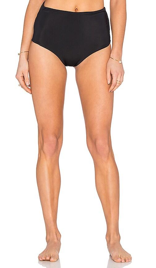 Mara Hoffman High Waist Cut Out Bikini Bottom in Black