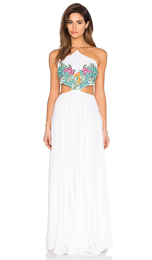 Mara Hoffman Embroidered Halter Maxi Dress in White