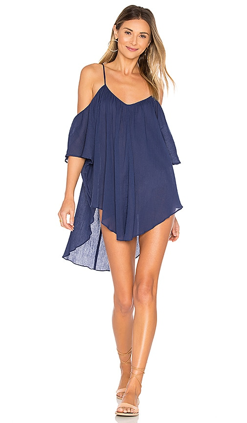 Mara Hoffman Off Shoulder Tank Dress in Navy