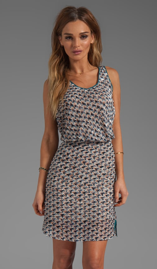 Puzzle Print Devore Velvet Dress