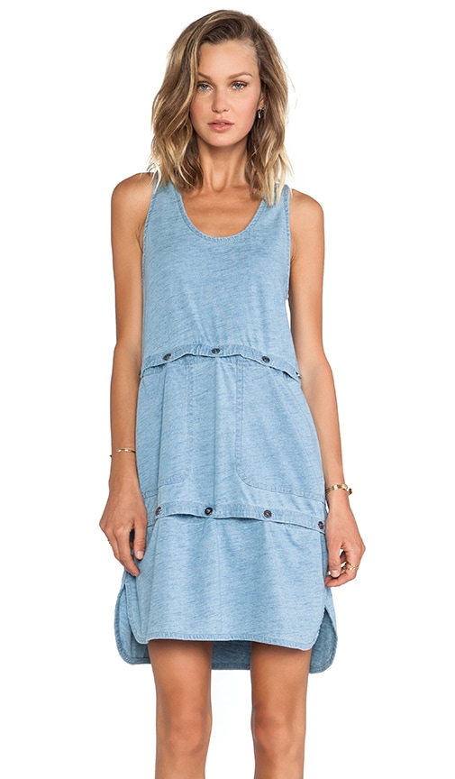 Yili Indigo Jersey Tank Dress/Crop Top