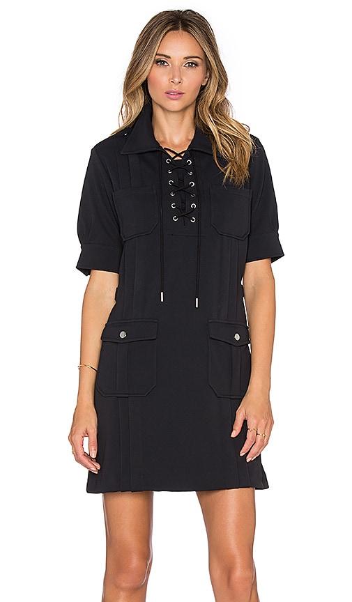 Marc by Marc Jacobs Double Pocket Tie Neck Mini Dress in Black