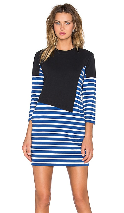 Marc by Marc Jacobs Jacquelyn Asymmetric Stripe Dress in True Blue Multi