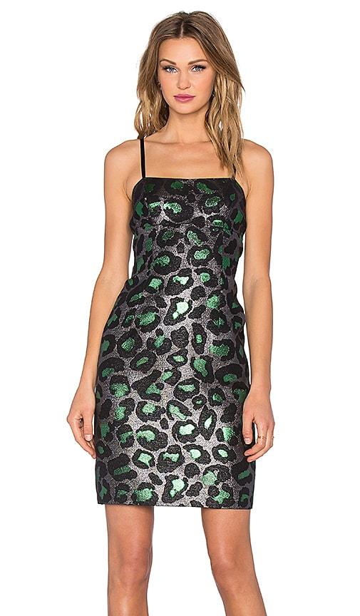 Marc by Marc Jacobs Leopard Lurex Mini Dress in Green Multi