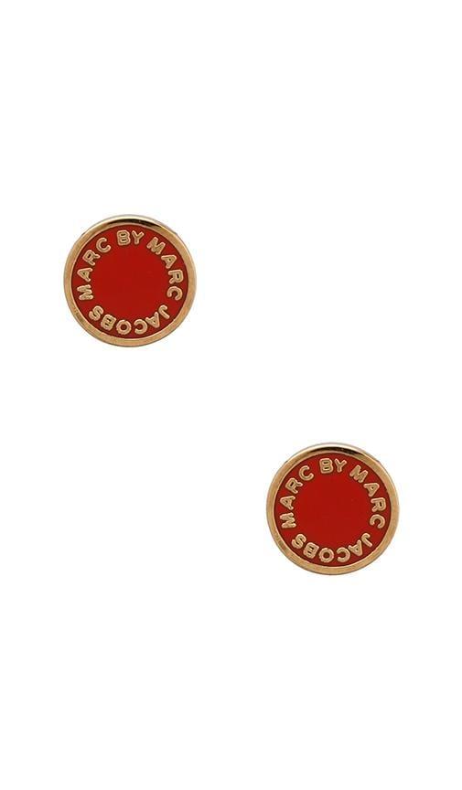 Classic Marc Enamel Logo Disc Studs om Blaze Red