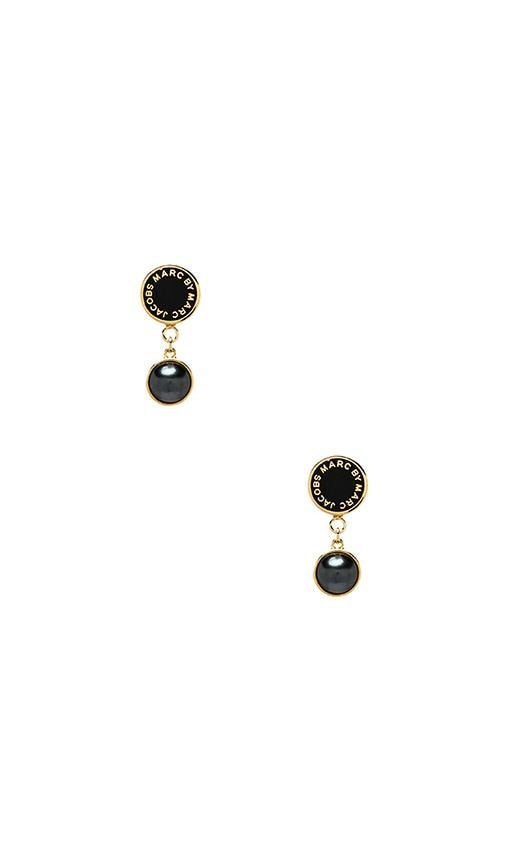 Classic Marc Enamel Disc Pearl Drop Earrings