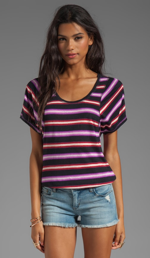 Light Stripe Jersey Short Sleeve Top