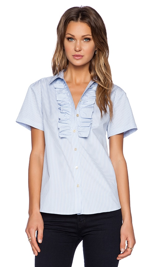 Marc by Marc Jacobs Candy Stripe Short Sleeve Shirt in Pacific Blue Multi