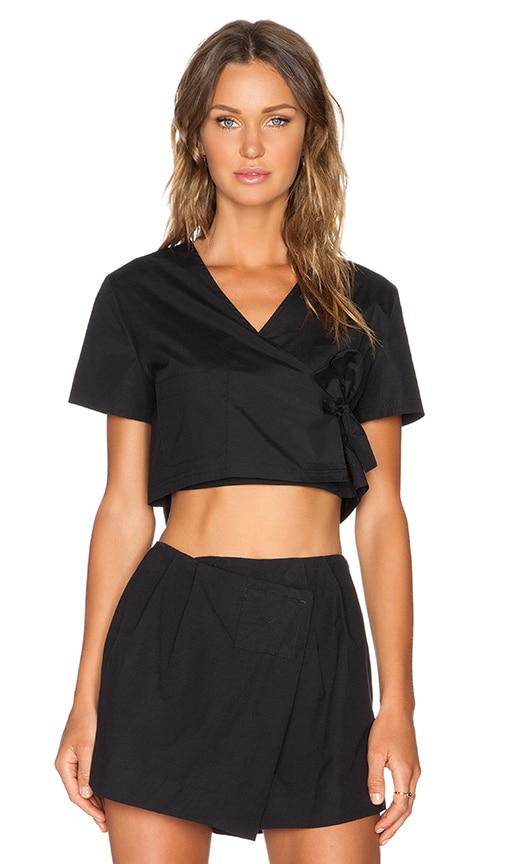 Marc by Marc Jacobs Stretch Poplin Crop Top in Black