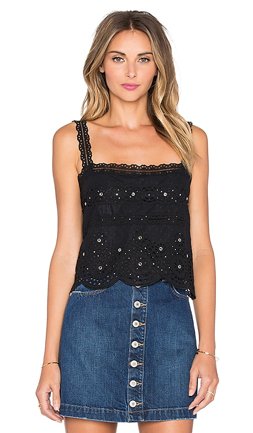 Marc by Marc Jacobs Broiderie Anglaise Tank in Black