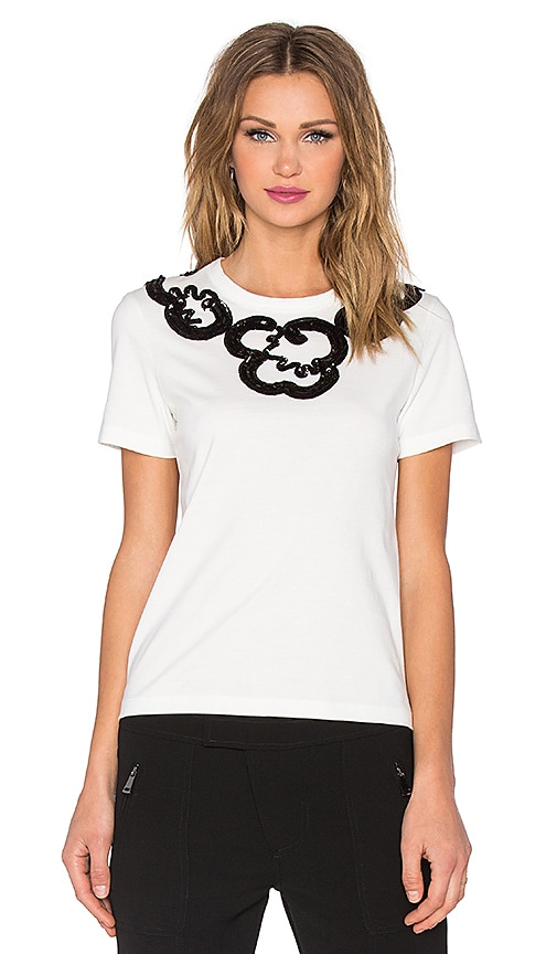 Marc by Marc Jacobs Embroidered Collar Tee in White Multi