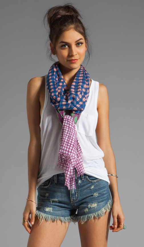 Printed Mix Check Scarf