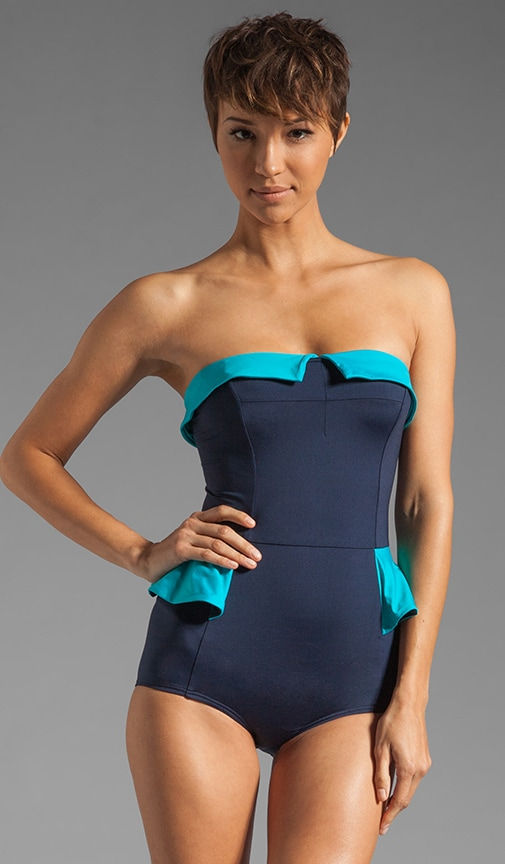 Color Blocked Peplum Maillot