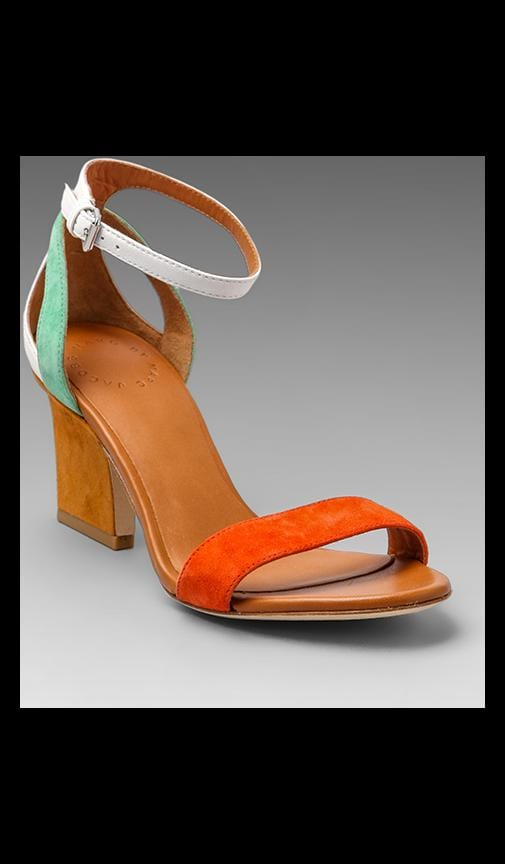 Suede Color Weave Heel Sandal