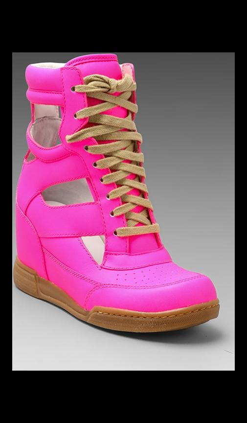 Neon Cut Out Wedge Sneaker