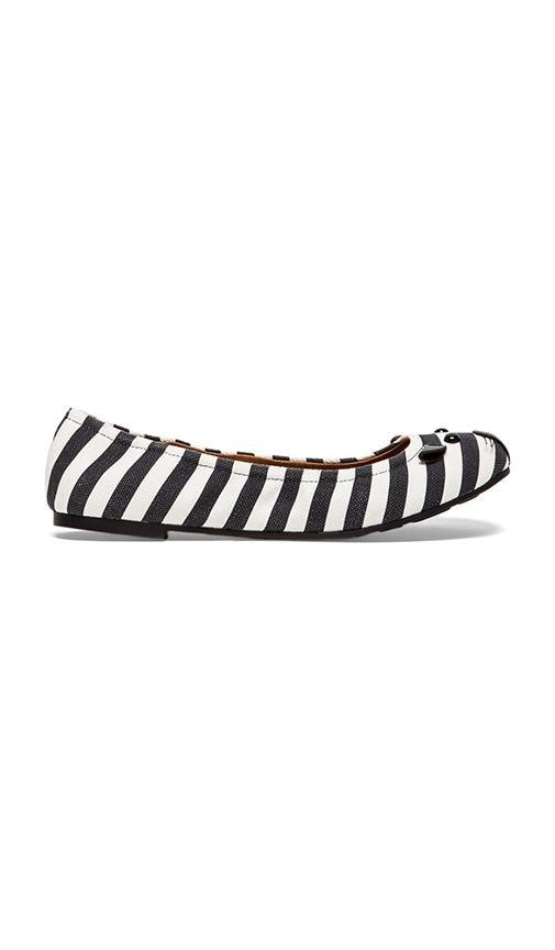 Striped Canvas Mouse Ballerina Flat