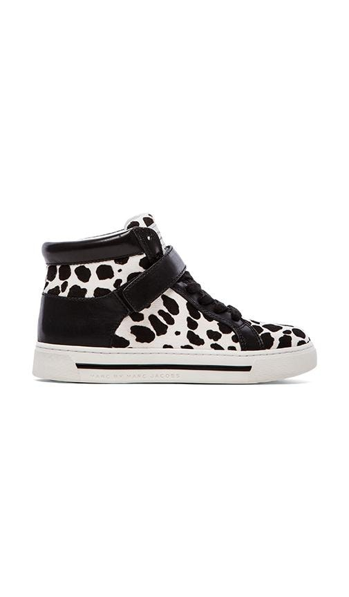 Cute Kicks 10mm Lace Up Sneakers with Calf Fur