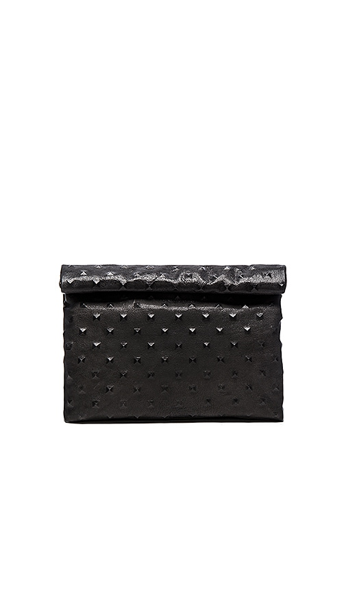 Marie Turnor The Pyramid Stud Lunch Clutch in Charcoal