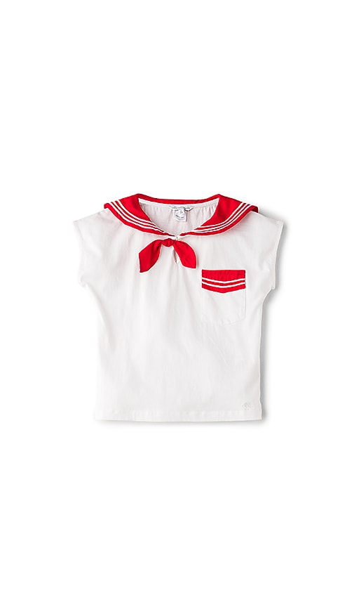Little Marc Jacobs Navy Tee in White
