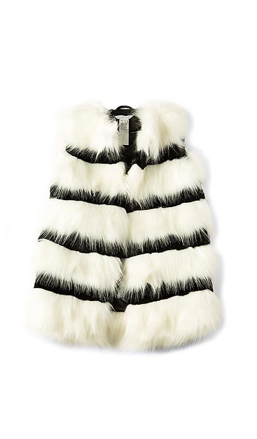 Little Marc Jacobs Faux Fur Stripe Vest in White
