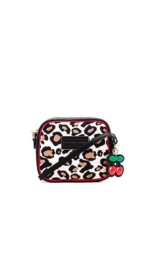 Little Marc Jacobs Leopard Cherry Charm Crossbody Bag in Cream