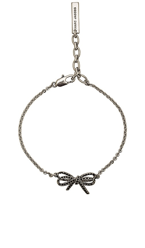 Marc Jacobs Pave Twisted Bow Chain Bracelet in Metallic Silver