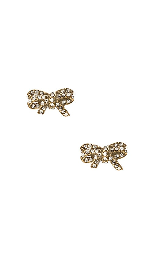 Marc Jacobs Pave Twisted Bow Stud Earrings in Metallic Gold