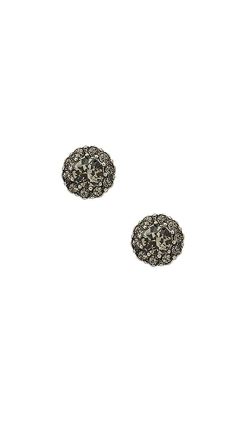 Marc Jacobs Strass Flower Studs in Metallic Silver