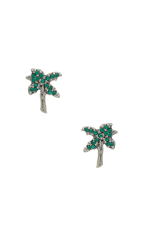 Marc Jacobs Strass Palm Tree Studs in Metallic Silver