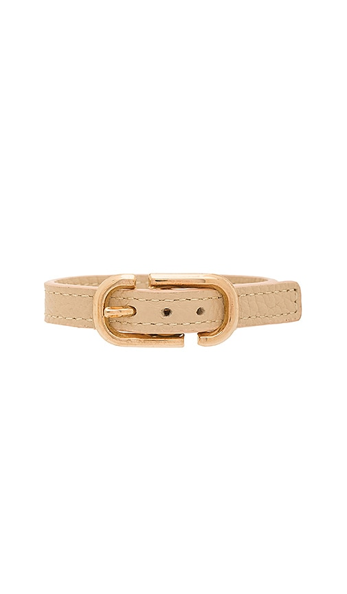 Marc Jacobs Icon Buckle Leather Bracelet in Beige